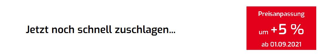 Preiserhöhung 5% deutsch